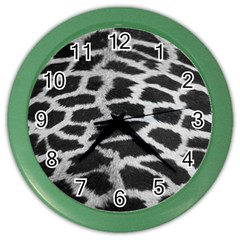 Black And White Giraffe Skin Pattern Color Wall Clocks by Nexatart