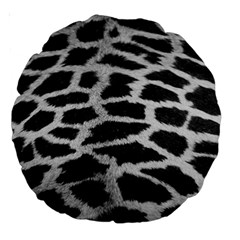 Black And White Giraffe Skin Pattern Large 18  Premium Round Cushions