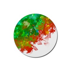 Digitally Painted Messy Paint Background Textur Rubber Coaster (round)