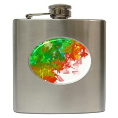 Digitally Painted Messy Paint Background Textur Hip Flask (6 Oz) by Nexatart
