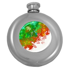 Digitally Painted Messy Paint Background Textur Round Hip Flask (5 Oz) by Nexatart