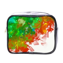 Digitally Painted Messy Paint Background Textur Mini Toiletries Bags by Nexatart