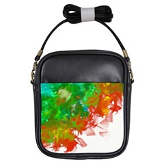 Digitally Painted Messy Paint Background Textur Girls Sling Bags by Nexatart