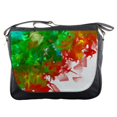 Digitally Painted Messy Paint Background Textur Messenger Bags by Nexatart