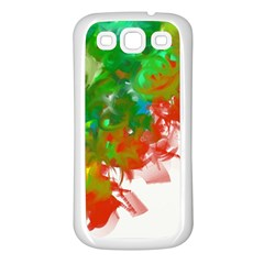 Digitally Painted Messy Paint Background Textur Samsung Galaxy S3 Back Case (white) by Nexatart