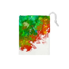 Digitally Painted Messy Paint Background Textur Drawstring Pouches (small)  by Nexatart