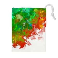 Digitally Painted Messy Paint Background Textur Drawstring Pouches (extra Large) by Nexatart