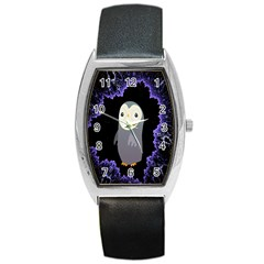 Fractal Image With Penguin Drawing Barrel Style Metal Watch