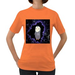 Fractal Image With Penguin Drawing Women s Dark T Shirt