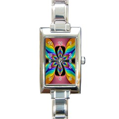 Fractal Butterfly Rectangle Italian Charm Watch by Nexatart