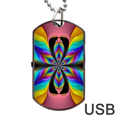 Fractal Butterfly Dog Tag Usb Flash (one Side) by Nexatart