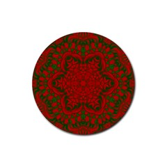 Christmas Kaleidoscope Rubber Coaster (round)  by Nexatart