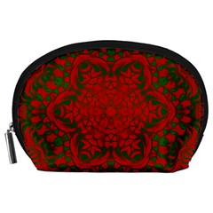 Christmas Kaleidoscope Accessory Pouches (large)  by Nexatart
