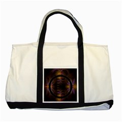 Wallpaper With Fractal Black Ring Two Tone Tote Bag by Nexatart