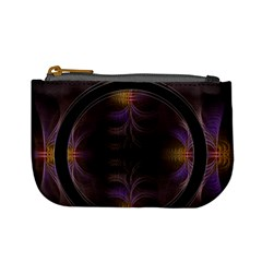 Wallpaper With Fractal Black Ring Mini Coin Purses by Nexatart