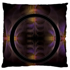Wallpaper With Fractal Black Ring Large Cushion Case (one Side) by Nexatart