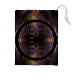 Wallpaper With Fractal Black Ring Drawstring Pouches (extra Large)