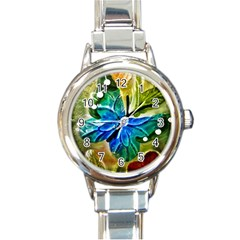 Blue Spotted Butterfly Art In Glass With White Spots Round Italian Charm Watch