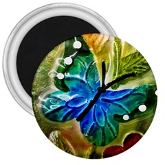 Blue Spotted Butterfly Art In Glass With White Spots 3  Magnets