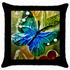Blue Spotted Butterfly Art In Glass With White Spots Throw Pillow Case (black) by Nexatart