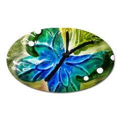 Blue Spotted Butterfly Art In Glass With White Spots Oval Magnet by Nexatart
