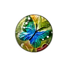 Blue Spotted Butterfly Art In Glass With White Spots Hat Clip Ball Marker (4 Pack) by Nexatart