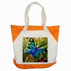 Blue Spotted Butterfly Art In Glass With White Spots Accent Tote Bag