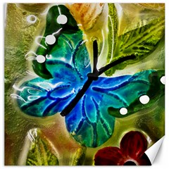 Blue Spotted Butterfly Art In Glass With White Spots Canvas 20  X 20