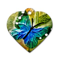Blue Spotted Butterfly Art In Glass With White Spots Dog Tag Heart (one Side)