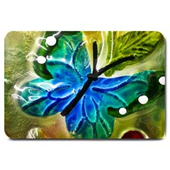 Blue Spotted Butterfly Art In Glass With White Spots Large Doormat  by Nexatart