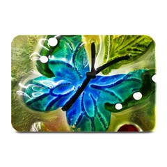 Blue Spotted Butterfly Art In Glass With White Spots Plate Mats by Nexatart