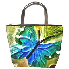 Blue Spotted Butterfly Art In Glass With White Spots Bucket Bags by Nexatart