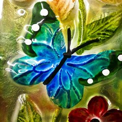 Blue Spotted Butterfly Art In Glass With White Spots Magic Photo Cubes