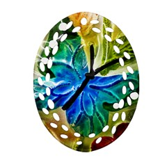 Blue Spotted Butterfly Art In Glass With White Spots Oval Filigree Ornament (two Sides) by Nexatart