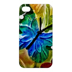 Blue Spotted Butterfly Art In Glass With White Spots Apple Iphone 4/4s Premium Hardshell Case by Nexatart
