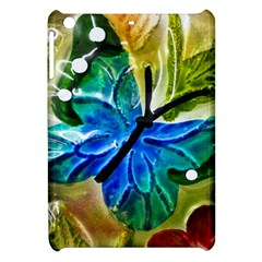 Blue Spotted Butterfly Art In Glass With White Spots Apple Ipad Mini Hardshell Case by Nexatart
