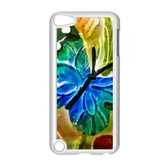 Blue Spotted Butterfly Art In Glass With White Spots Apple Ipod Touch 5 Case (white)