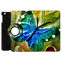Blue Spotted Butterfly Art In Glass With White Spots Apple Ipad Mini Flip 360 Case by Nexatart