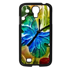 Blue Spotted Butterfly Art In Glass With White Spots Samsung Galaxy S4 I9500/ I9505 Case (black)