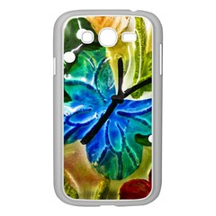 Blue Spotted Butterfly Art In Glass With White Spots Samsung Galaxy Grand Duos I9082 Case (white) by Nexatart