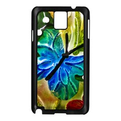 Blue Spotted Butterfly Art In Glass With White Spots Samsung Galaxy Note 3 N9005 Case (black) by Nexatart