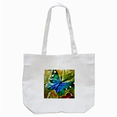 Blue Spotted Butterfly Art In Glass With White Spots Tote Bag (white) by Nexatart