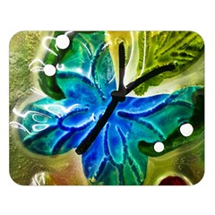 Blue Spotted Butterfly Art In Glass With White Spots Double Sided Flano Blanket (large)  by Nexatart