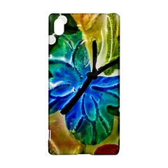 Blue Spotted Butterfly Art In Glass With White Spots Sony Xperia Z3+ by Nexatart