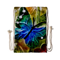 Blue Spotted Butterfly Art In Glass With White Spots Drawstring Bag (small)