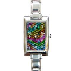 Fish Scales Pattern Background In Rainbow Colors Wallpaper Rectangle Italian Charm Watch by Nexatart