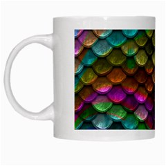Fish Scales Pattern Background In Rainbow Colors Wallpaper White Mugs