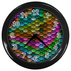 Fish Scales Pattern Background In Rainbow Colors Wallpaper Wall Clocks (black)