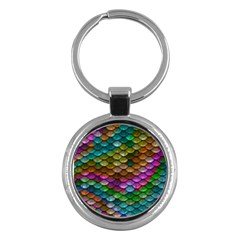 Fish Scales Pattern Background In Rainbow Colors Wallpaper Key Chains (round)  by Nexatart