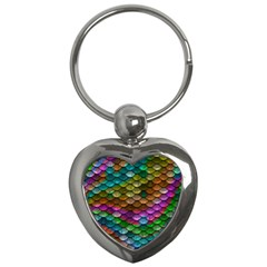 Fish Scales Pattern Background In Rainbow Colors Wallpaper Key Chains (heart)  by Nexatart